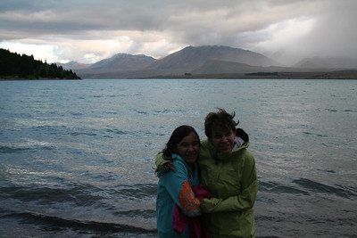 Ila and Naomi wondering who turned down the AC at Lake Tekapo.