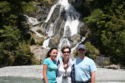 A photo of us in front of Fantail Falls along the Hasst Highway.