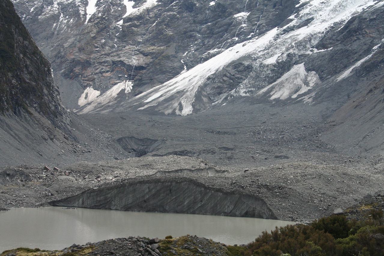 These are snow mounds and glaciers in the Mt Cook National Park.