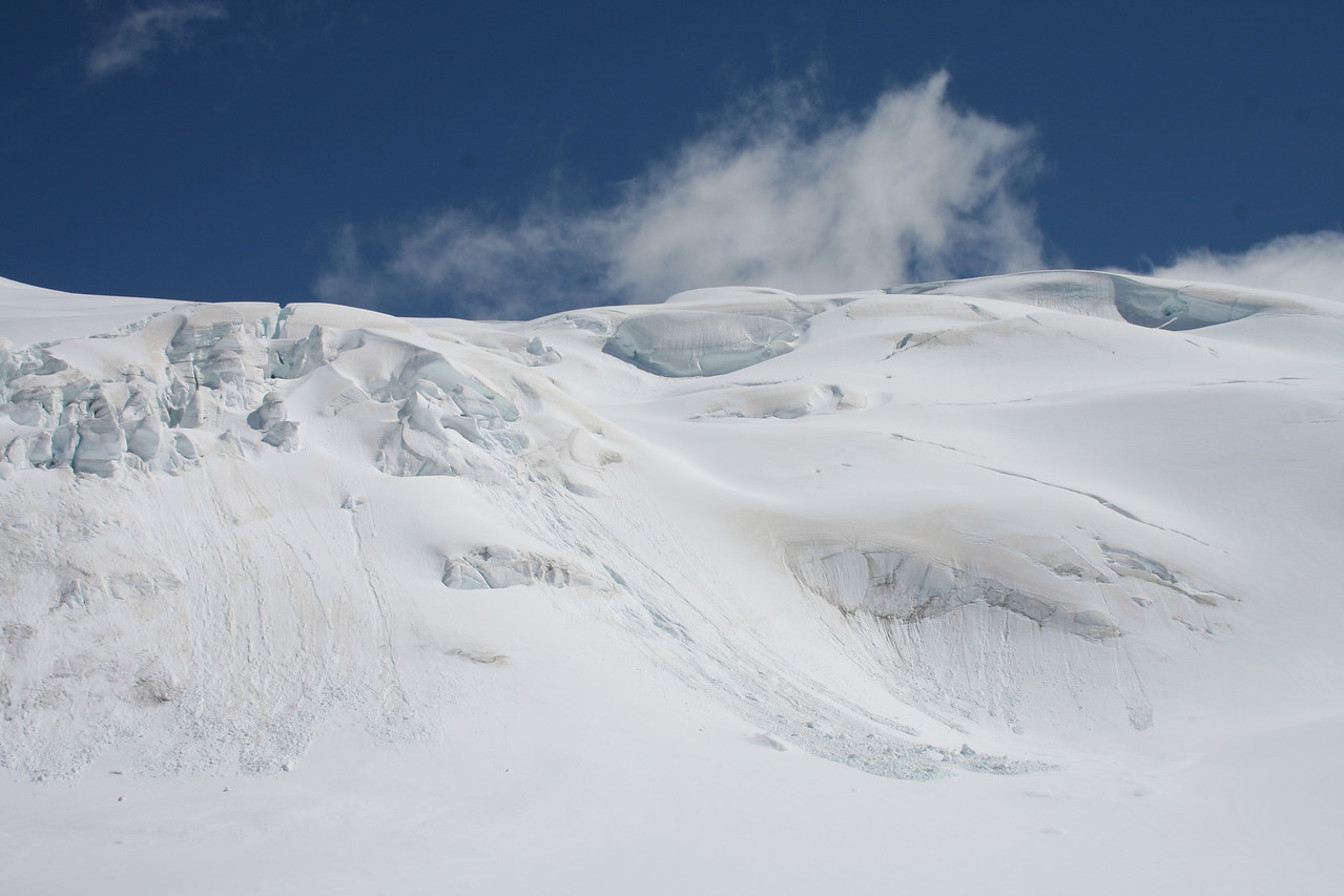 Taken from the top of Fox Glacier a view of snow and ices above us.