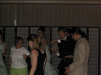 Dancing at my cousin Timothy's wedding.  I'm in the white suit, my cousin Charles is the one with the laser eyes, he's pointing to cousin (and bridesmaid) Nicola's back.  The other bridesmaid, Jenny, is half in the picture.  I don't know the names of the others.
