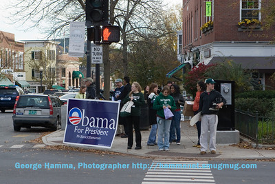NH is always a political place, but in October before a strongly contested presidential election, the intersection of Main and Wheelock is a center of activity.