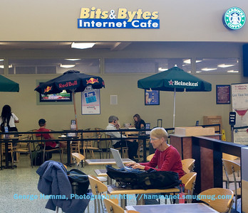 The trip started at the San Jose International Airport, with Janet catching up on some communications at the Internet Cafe.