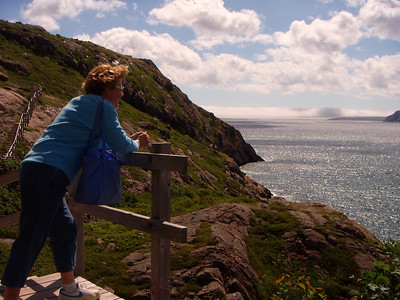 Looking out to Cape Spear from Signal Hill and catching our breath.