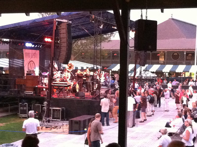 Preservation Hall Jazz Band playing on stage at the Tennis Hall of Fame. Aug 3, 2012.