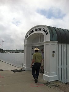 """On Sunday afternoon we joined Ken's co-worker TJ at the Ida Lewis Yacht Club for a tour about the harbor in a """"putt-putt"""""""