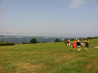 Saturday morning at Fort Adams State Park, walking from parking to shuttle bus to get to the Jazz Festival  (on 3 stages in and around Fort Adams).