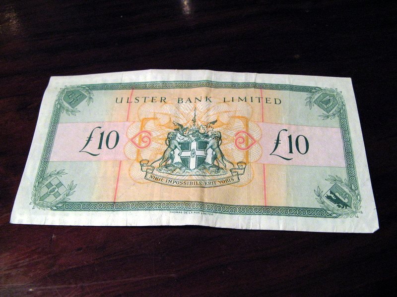Some of the different provinces have different banknotes.  This is the Northern Irish (Ulster) bank.  There were also different Royal Bank of Scotland notes.