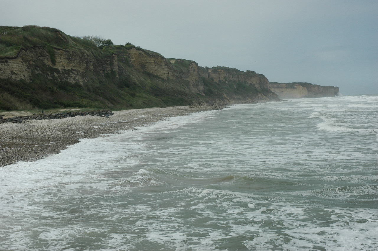 "Omaha Beach - <a style=""font-size: 14px;"" href=""http://snoupi.smugmug.com/gallery/3395287"" target=""_blank"">Pointe-du-Hoc</a> Cliffs, as seen from Omaha Beach"