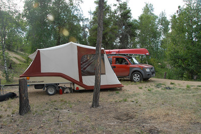 Here it is with the Element and the Mox-Sea our Canoe at the campsite in North Buck Lake