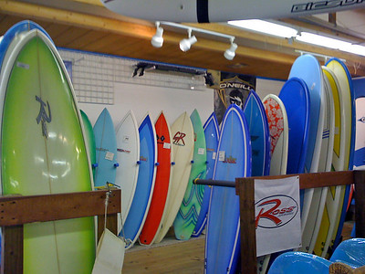 Surf boards at Bert's Surf shop.