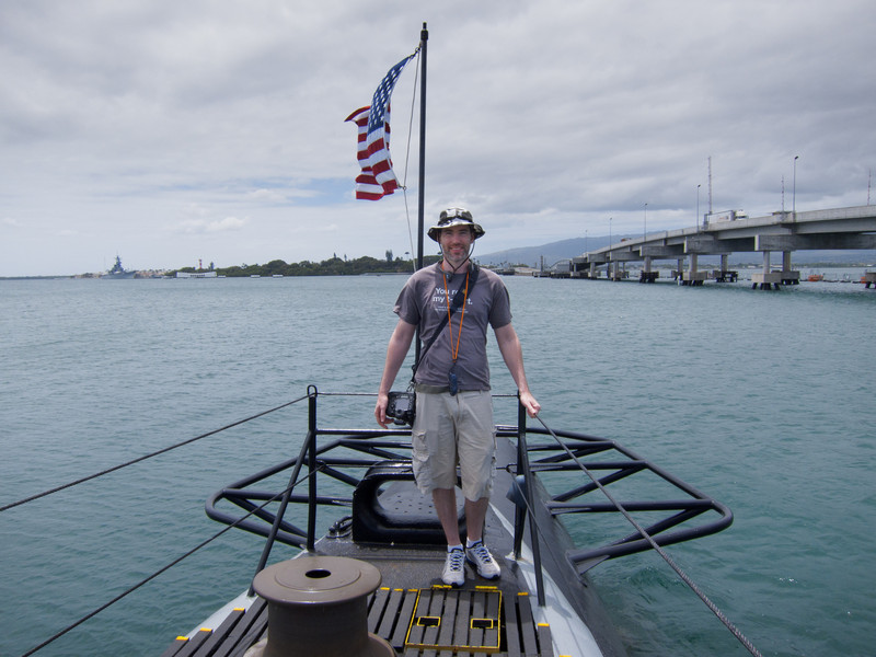 On the deck of the USS Bowfin at the Pearl Harbor Visitor Center