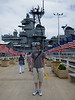 Me in front of the USS Missouri.  The end of WWII was signed on this ship, it was also the last battleship in service.
