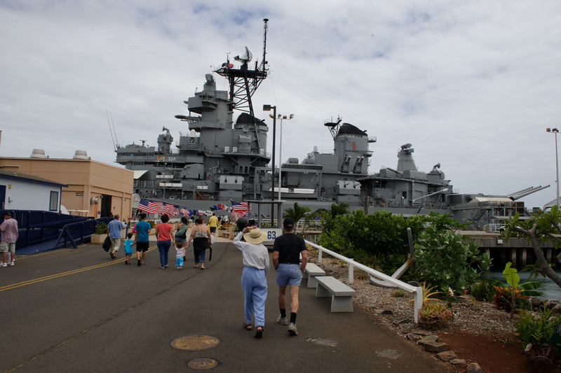 Coming up to the USS Missouri