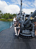 One of the big guns on top of the USS Bowfin