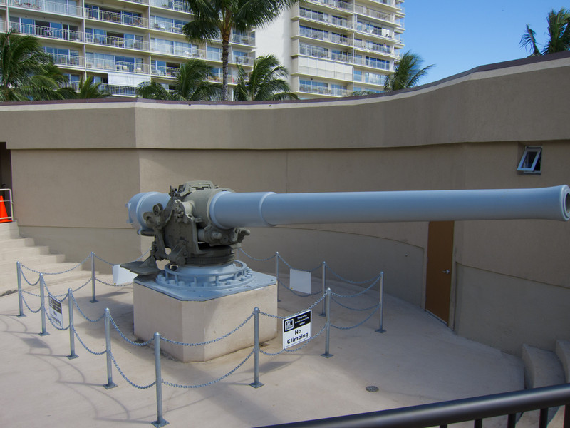 One of the big guns on the roof of Fort Derussy