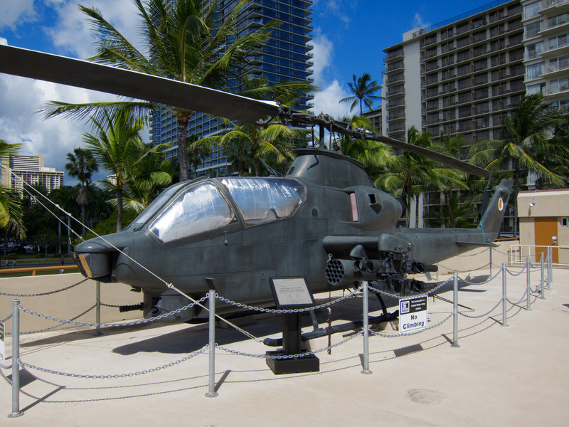Cobra helicopter on the roof of Fort Derussy