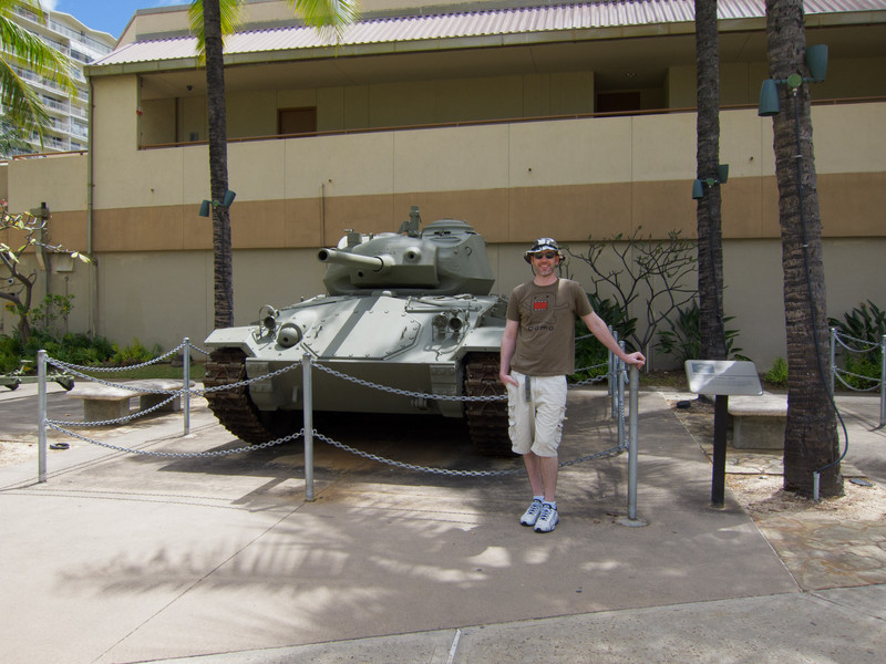 Me in front of an American M24 tank at Fort Derussy