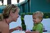 Aunt Allison blowing bubbles for Jackson