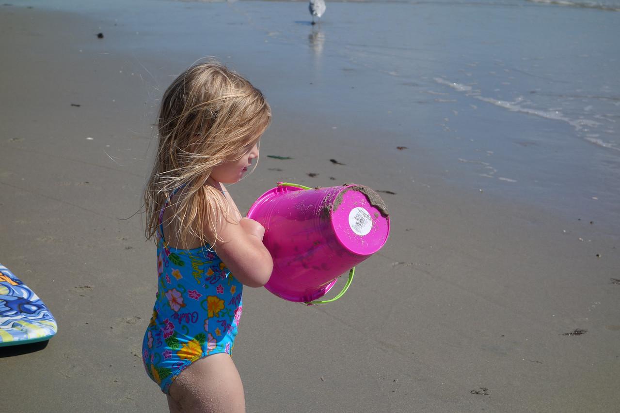 Katrina checking out the sand bucket