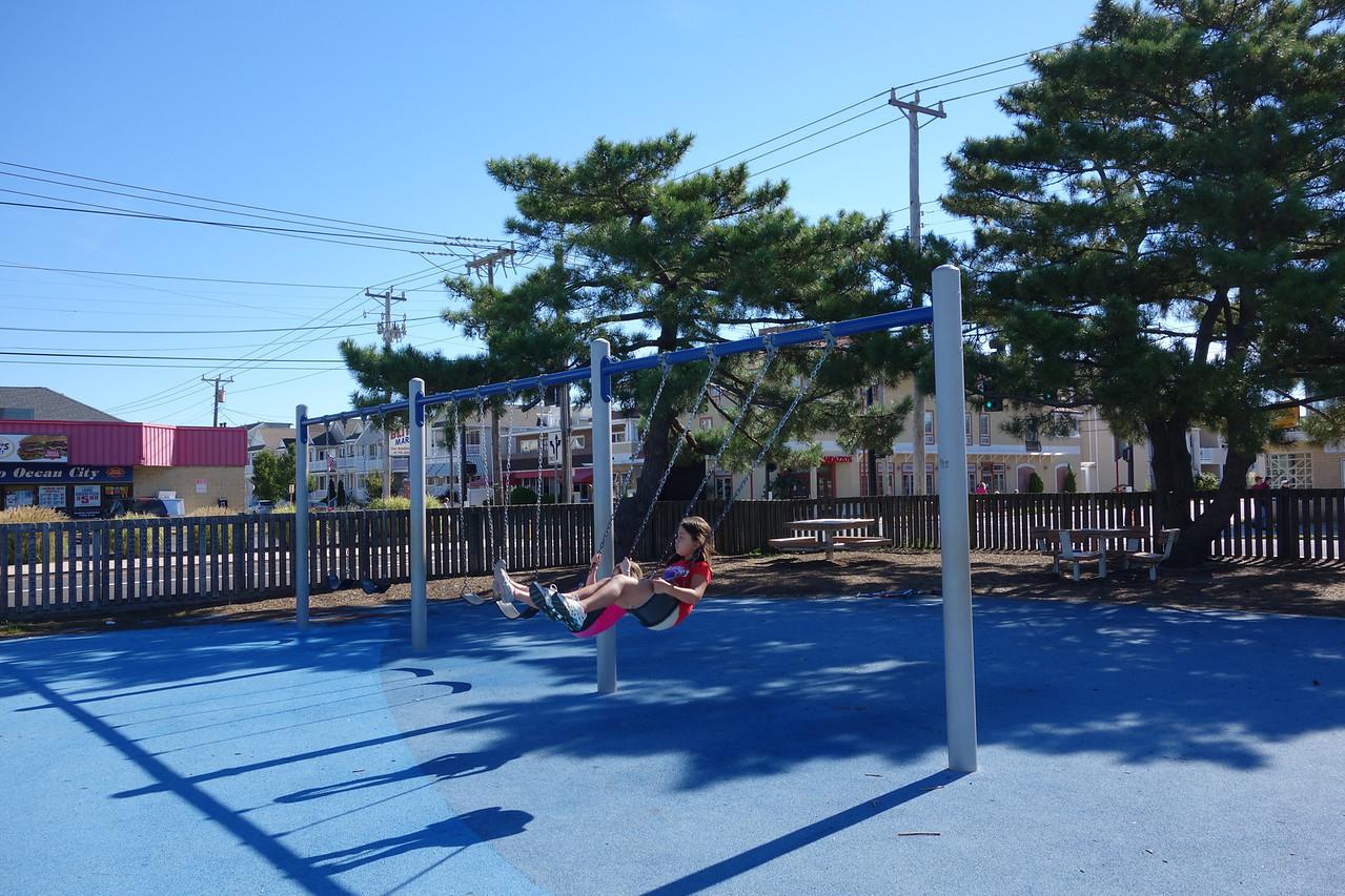 Kaidyn enjoying the swings