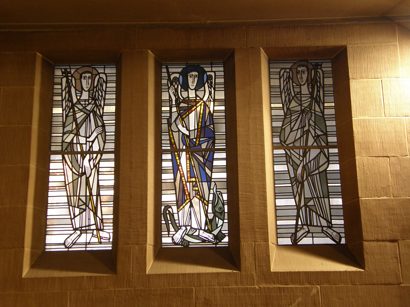 modern stained glass in a side chapel