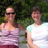 Sue Ellen and Karen sitting on bench on Marginal Way.
