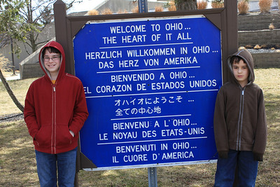 March 20, 2013 - (Ohio Welcome Center / New Paris, Preble County, Ohio) -- James & Aaron at Ohio Welcome signage