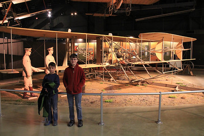 March 21, 2013 - (Wright-Patterson Air Force Base [National Museum of the United States Air Force] / Dayton, Montgomery County, Ohio) -- Aaron & James in front of Wright Brothers' (1909) Military Flyer