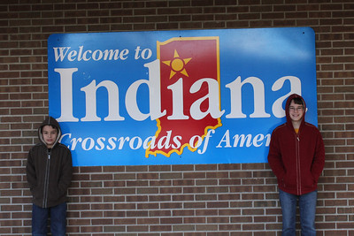 March 20, 2013 - (Indiana Welcome Center / West Terre Haute, Vigo County, Indiana) -- Aaron & James at Indiana Welcome signage