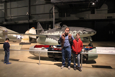 """March 21, 2013 - (Wright-Patterson Air Force Base [National Museum of the United States Air Force] / Dayton, Montgomery County, Ohio) -- Michael & James in front of World War II Messerschmitt Me262A """"Schwalbe"""" (1938-)"""