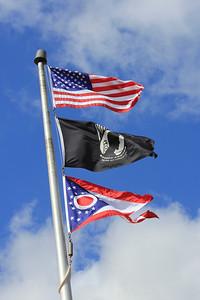 March 20, 2013 - (Ohio Welcome Center / New Paris, Preble County, Ohio) -- American, POW & Ohio State flags