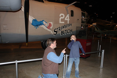 """March 21, 2013 - (Wright-Patterson Air Force Base [National Museum of the United States Air Force] / Dayton, Montgomery County, Ohio) -- Michael mimicking scolding Aaron for saying """"Strawberry [**Bleep]"""", in front of Consolidated B-24D """"Liberator"""""""