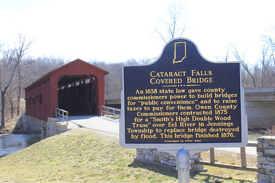 March 20, 2013 - (Cataract Falls State Recreation Area [outside Cataract Falls Covered Bridge] / Cloverdale, Owen County, Indiana) -- Cataract Falls Covered Bridge