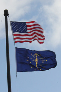 March 20, 2013 - (Indiana Welcome Center / West Terre Haute, Vigo County, Indiana) -- American & Indiana State flags