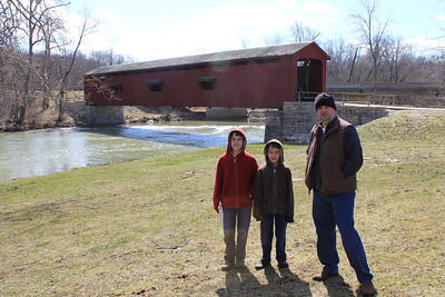 March 20, 2013 - (Cataract Falls State Recreation Area [outside Cataract Falls Covered Bridge] / Cloverdale, Owen County, Indiana) -- James, Aaron & Michael at Upper Cataract Falls Covered Bridge