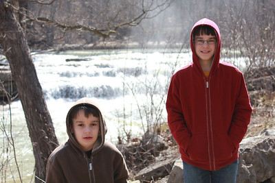March 20, 2013 - (Cataract Falls State Recreation Area [Upper Falls] / Cloverdale, Owen County, Indiana) -- Aaron & James at Upper Cataract Falls