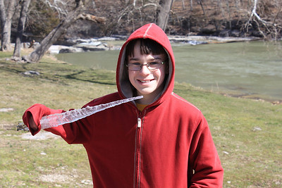 March 20, 2013 - (Cataract Falls State Recreation Area [outside Cataract Falls Covered Bridge] / Cloverdale, Owen County, Indiana) -- James with an icicle sword [Aaron's broke earlier]