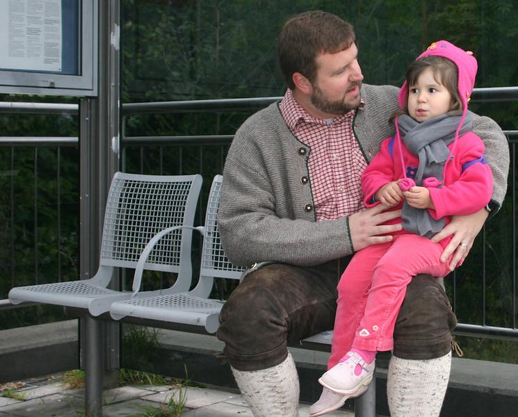 Joel and Naomi waiting at the train stop