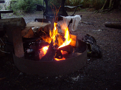 We managed to build a fire Thursday night.  I also managed to melt my shoes that are pictured here.