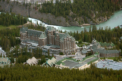 Fairmont, Banff Springs from top of Sulphur Mountain