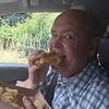 David Eating Tillamook Grilled Chese Sandwich