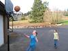 Alena and Elise playing basketball