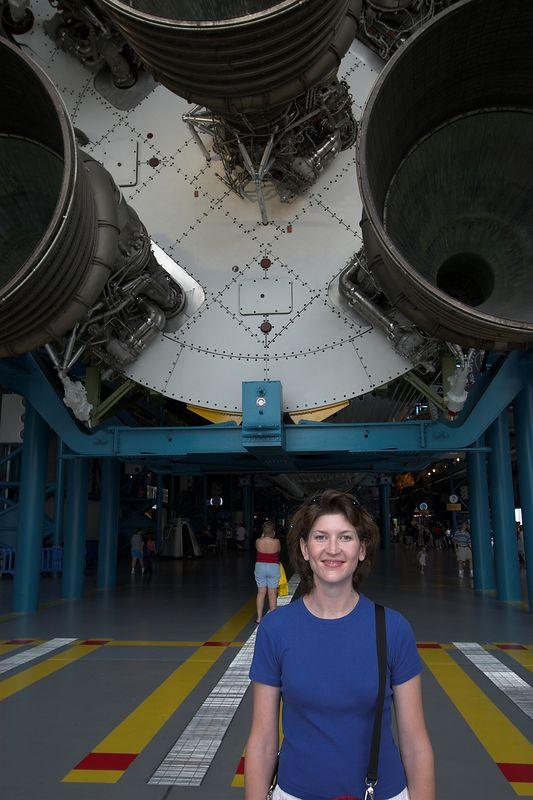 Maegan in front of Saturn V