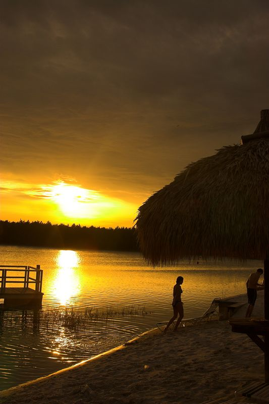 Sunset at the resort's private lake.