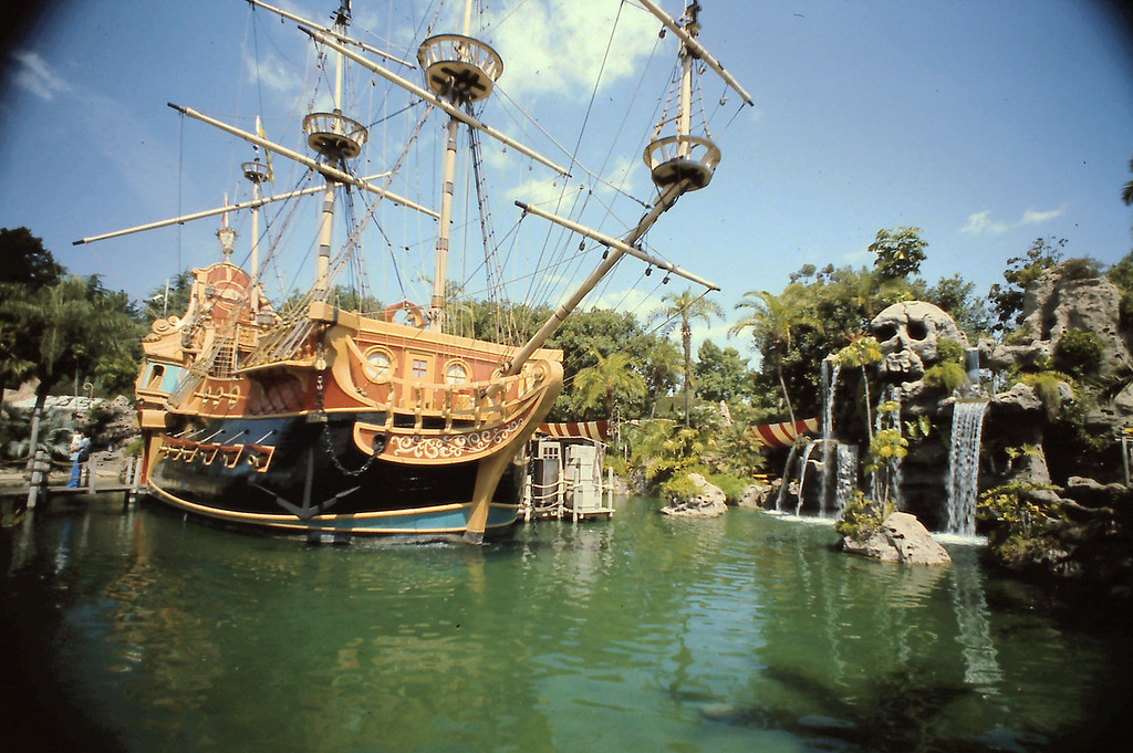 This scene shows part of Adventure Land at Disneyland.