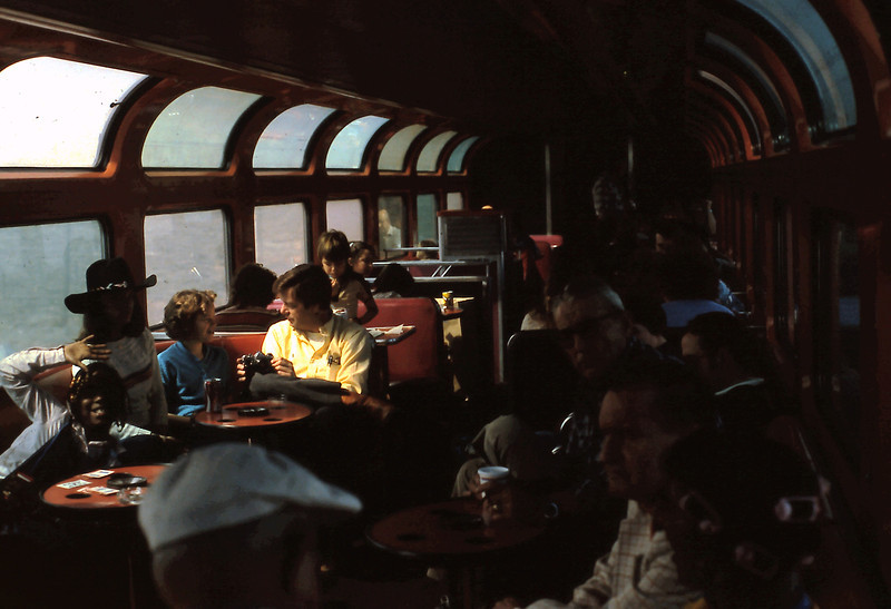 This photo shows the interior of the Santa Fe Hi-Level Lounge Car on #3.