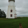 Ginger at a lighthouse on PEI.
