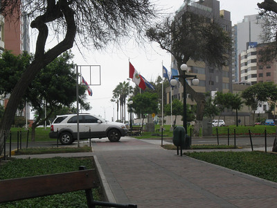 Plaza Centro America in Miraflores. This is a park with benches that runs for over a mile linking three small plazas and ends at the Pacific.  It makes crossing the deadly streets a little easier.  I strolled parts of this street (Avenida Jose Pardo) almost daily.
