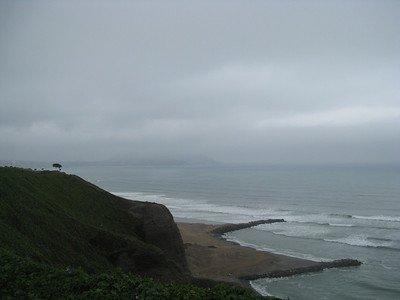 Miraflores, Lima Peru.  A view of the Costa Verde from the bike path on the malecon.